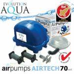 AirPump Airtech 70 SET, 34 Watt, 70 l/min., originální balení, včetně vzduchovacích rozvodů a vzduchovacích kamenů