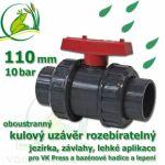 kulový ventil 100 mm PLUS, oboustranně rozpojitelný, napojení lepení/lepení