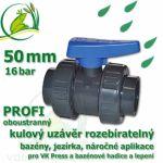 kulový ventil 50 mm profi 16 bar, oboustranně rozpojitelný, napojení lepení/lepení