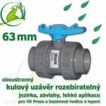 kulový ventil 63 mm, oboustranně rozpojitelný, napojení lepení/lepení