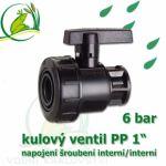 """kulový ventil PP 1 6 bar, jednostranně rozpojitelný, napojení oboustranné vnitřní šroubení 1"""""""""""