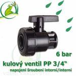 """kulový ventil PP 3/4 6 bar, jednostranně rozpojitelný, napojení oboustranné vnitřní šroubení 3/4"""""""""""