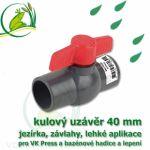 kulový ventil, uzávěr 40 mm, nerozebíratelný, spoj lepení/lepení