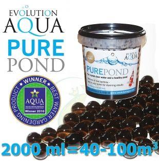 Pure Pond Black Balls bacterials, startovací a čistící samo se dávkující bakterie pro bio-rovnováhu ve filtracích a jezírku, 2000 ml pro 40-200 m3, pro celoroční použití od 4 °C Evolution Aqua