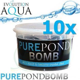Pure Pond BOMB 10x, čistící a startovací bakterie pro bio-rovnováhu v jezírku, použitelné po celý rok, aplikace od 4 °C vody v jezírku 10 ks pro 100-800 m3 Evolution Aqua