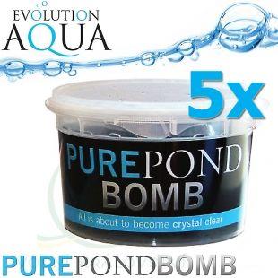 Pure Pond BOMB 5x, čistící a startovací bakterie pro bio-rovnováhu v jezírku, použitelné po celý rok, aplikace od 4 °C vody v jezírku, 5 ks pro 50-400 m3 Evolution Aqua